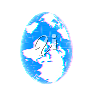 Global Easter on a white background. 3D illustration. Anaglyph. View with red/cyan glasses to see in 3D.
