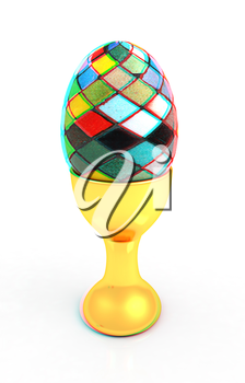 Easter egg on gold egg cups on a white background. 3D illustration. Anaglyph. View with red/cyan glasses to see in 3D.