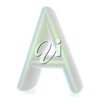 Glossy alphabet. The letter A. 3D illustration. Anaglyph. View with red/cyan glasses to see in 3D.