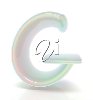 Glossy alphabet. The letter G. 3D illustration. Anaglyph. View with red/cyan glasses to see in 3D.