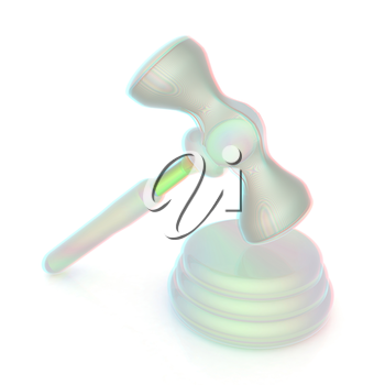 Fantastic gavel isolated on white background . 3D illustration. Anaglyph. View with red/cyan glasses to see in 3D.