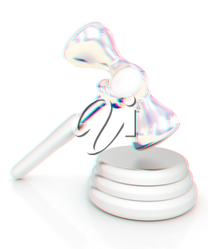 Metall gavel isolated on white background. 3D illustration. Anaglyph. View with red/cyan glasses to see in 3D.
