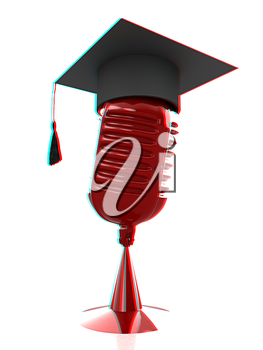 New 3d concept of education with microphone and graduation hat. 3D illustration. Anaglyph. View with red/cyan glasses to see in 3D.