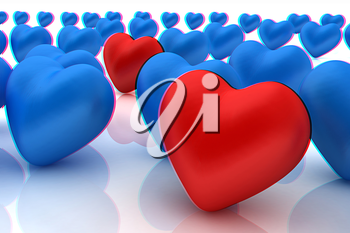 One red heart standing out in crowd . 3D illustration. Anaglyph. View with red/cyan glasses to see in 3D.