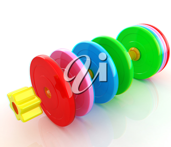 Colorful dumbbells are assembly and disassembly on a white background. 3D illustration. Anaglyph. View with red/cyan glasses to see in 3D.