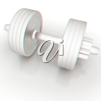 Metall dumbbells on a white background. 3D illustration. Anaglyph. View with red/cyan glasses to see in 3D.