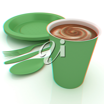 Fast-food disposable tableware. 3D illustration. Anaglyph. View with red/cyan glasses to see in 3D.