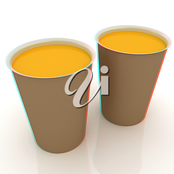 Hot drink in fast-food cap. 3D illustration. Anaglyph. View with red/cyan glasses to see in 3D.