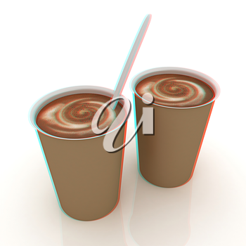 Coffe in fast-food disposable tableware. 3D illustration. Anaglyph. View with red/cyan glasses to see in 3D.