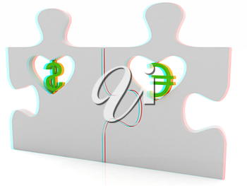 currency pair on a white background. 3D illustration. Anaglyph. View with red/cyan glasses to see in 3D.