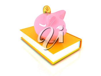 Piggy Bank with a gold dollar coin on book on a white background. 3D illustration. Anaglyph. View with red/cyan glasses to see in 3D.