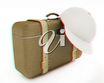 Brown traveler's suitcase and peaked cap on a white background. 3D illustration. Anaglyph. View with red/cyan glasses to see in 3D.