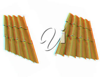 Gold 3d roof tiles isolated on white background . 3D illustration. Anaglyph. View with red/cyan glasses to see in 3D.