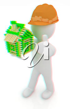 3d architect man in a hard hat with thumb up with log house from matches pattern. 3d image. Isolated on white background. . 3D illustration. Anaglyph. View with red/cyan glasses to see in 3D.