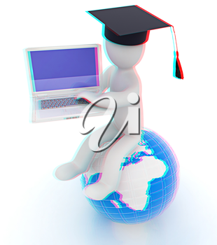 3d man in graduation hat sitting on earth and working at his laptop on a white background. 3D illustration. Anaglyph. View with red/cyan glasses to see in 3D.