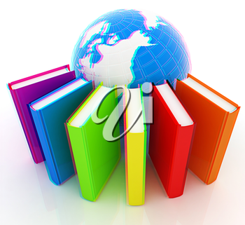 Colorful books and earth on a white background. 3D illustration. Anaglyph. View with red/cyan glasses to see in 3D.