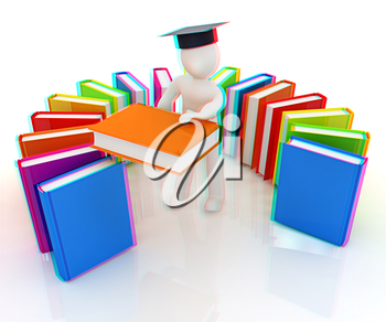 3d white man in a graduation hat with useful books - best gift a student on a white background. 3D illustration. Anaglyph. View with red/cyan glasses to see in 3D.