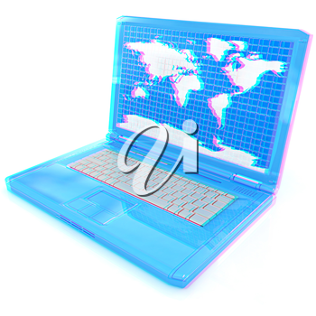 Laptop with world map on screen on a white background. 3D illustration. Anaglyph. View with red/cyan glasses to see in 3D.
