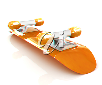 Skateboard on a white background. 3D illustration. Anaglyph. View with red/cyan glasses to see in 3D.
