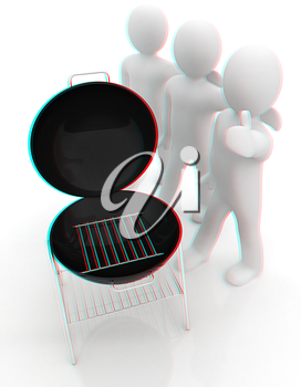 3d man with barbeque isolated on white . 3D illustration. Anaglyph. View with red/cyan glasses to see in 3D.
