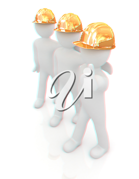 3d mans in a hard hat with thumb up. On a white background . 3D illustration. Anaglyph. View with red/cyan glasses to see in 3D.