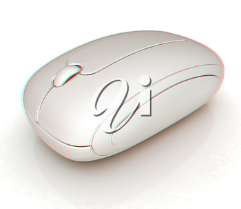 Wireless computer mouse on white background . 3D illustration. Anaglyph. View with red/cyan glasses to see in 3D.