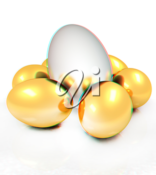 Big egg and gold eggs. 3D illustration. Anaglyph. View with red/cyan glasses to see in 3D.