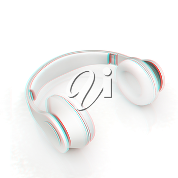 Headphones Isolated on White Background . 3D illustration. Anaglyph. View with red/cyan glasses to see in 3D.