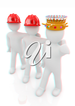 3d people - man, person with a golden crown. King with person with a hard hat. 3D illustration. Anaglyph. View with red/cyan glasses to see in 3D.