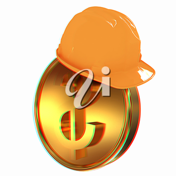 Hard hat on gold dollar coin. 3D illustration. Anaglyph. View with red/cyan glasses to see in 3D.