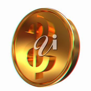 Gold coin with dollar sign. 3D illustration. Anaglyph. View with red/cyan glasses to see in 3D.