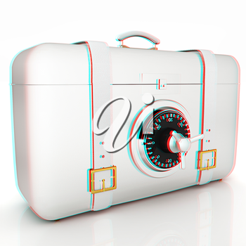 suitcase-safe.. 3D illustration. Anaglyph. View with red/cyan glasses to see in 3D.