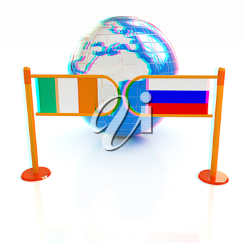 Three-dimensional image of the turnstile and flags of Ireland and Russia on a white background . 3D illustration. Anaglyph. View with red/cyan glasses to see in 3D.