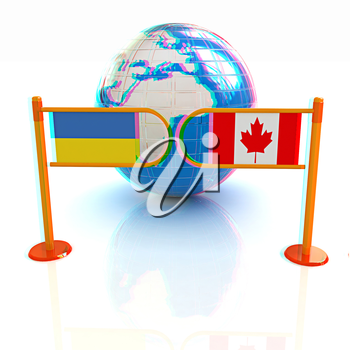 Three-dimensional image of the turnstile and flags of Canada and Ukraine on a white background . 3D illustration. Anaglyph. View with red/cyan glasses to see in 3D.