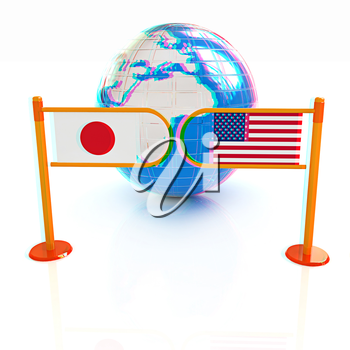 Three-dimensional image of the turnstile and flags of USA and Japan on a white background . 3D illustration. Anaglyph. View with red/cyan glasses to see in 3D.