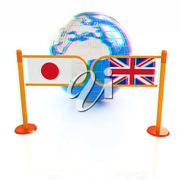 Three-dimensional image of the turnstile and flags of UK and Japan on a white background . 3D illustration. Anaglyph. View with red/cyan glasses to see in 3D.