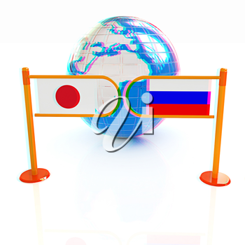 Three-dimensional image of the turnstile and flags of Japanese and Russia on a white background . 3D illustration. Anaglyph. View with red/cyan glasses to see in 3D.