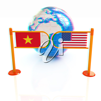 Three-dimensional image of the turnstile and flags of USA and Vietnam on a white background . 3D illustration. Anaglyph. View with red/cyan glasses to see in 3D.