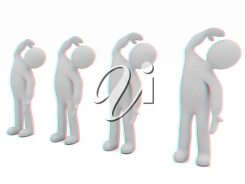 3d mans isolated on white. Series: morning exercises - flexibility exercises and stretching . 3D illustration. Anaglyph. View with red/cyan glasses to see in 3D.
