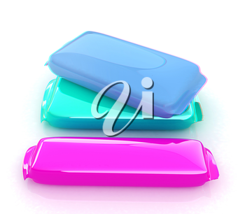 3d candy bar. 3D illustration. Anaglyph. View with red/cyan glasses to see in 3D.