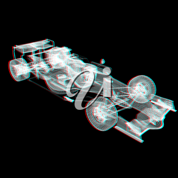 Formula One Mesh. 3D illustration. Anaglyph. View with red/cyan glasses to see in 3D.