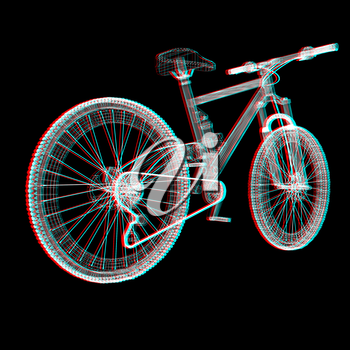 bicycle as a 3d wire frame object isolated. 3D illustration. Anaglyph. View with red/cyan glasses to see in 3D.