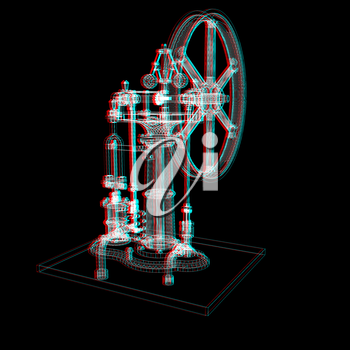 Perpetuum mobile. 3d render. 3D illustration. Anaglyph. View with red/cyan glasses to see in 3D.