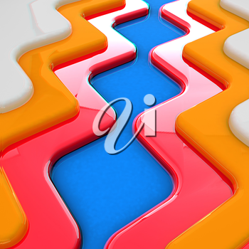 Virtual background. 3D illustration. Anaglyph. View with red/cyan glasses to see in 3D.