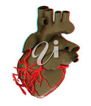 Human heart. 3D illustration. Anaglyph. View with red/cyan glasses to see in 3D.