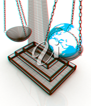 The philosophical concept: Earth lighter than vanity. 3D illustration. Anaglyph. View with red/cyan glasses to see in 3D.