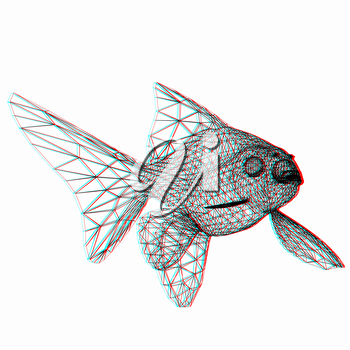 Fish. 3D illustration. Anaglyph. View with red/cyan glasses to see in 3D.