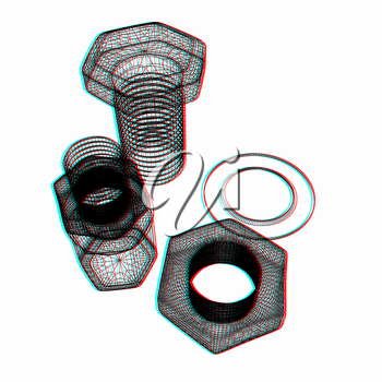 bolts with a nuts and washers. 3D illustration. Anaglyph. View with red/cyan glasses to see in 3D.