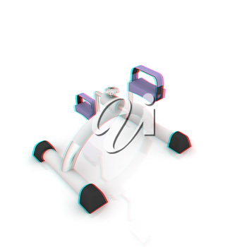 Exercise bike - fitness salon equipment. 3D illustration. Anaglyph. View with red/cyan glasses to see in 3D.