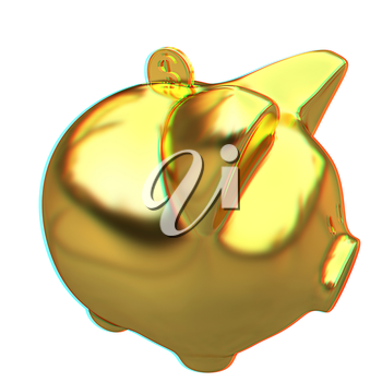 gold coin with with the gold piggy bank . 3D illustration. Anaglyph. View with red/cyan glasses to see in 3D.